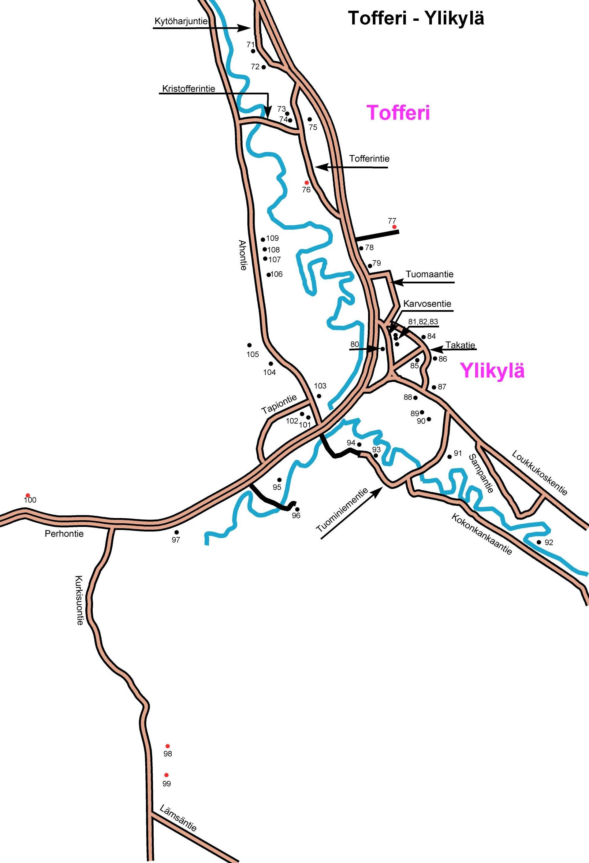 Ylikylän kartta